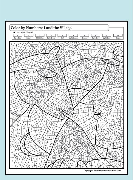 Get PDF Color by number Preschool worksheets, Color by
