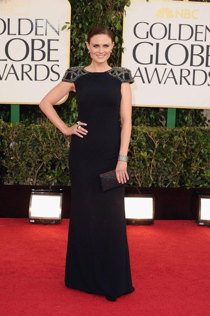 Emily Deschanel on the Golden Globes Red Carpet 2013
