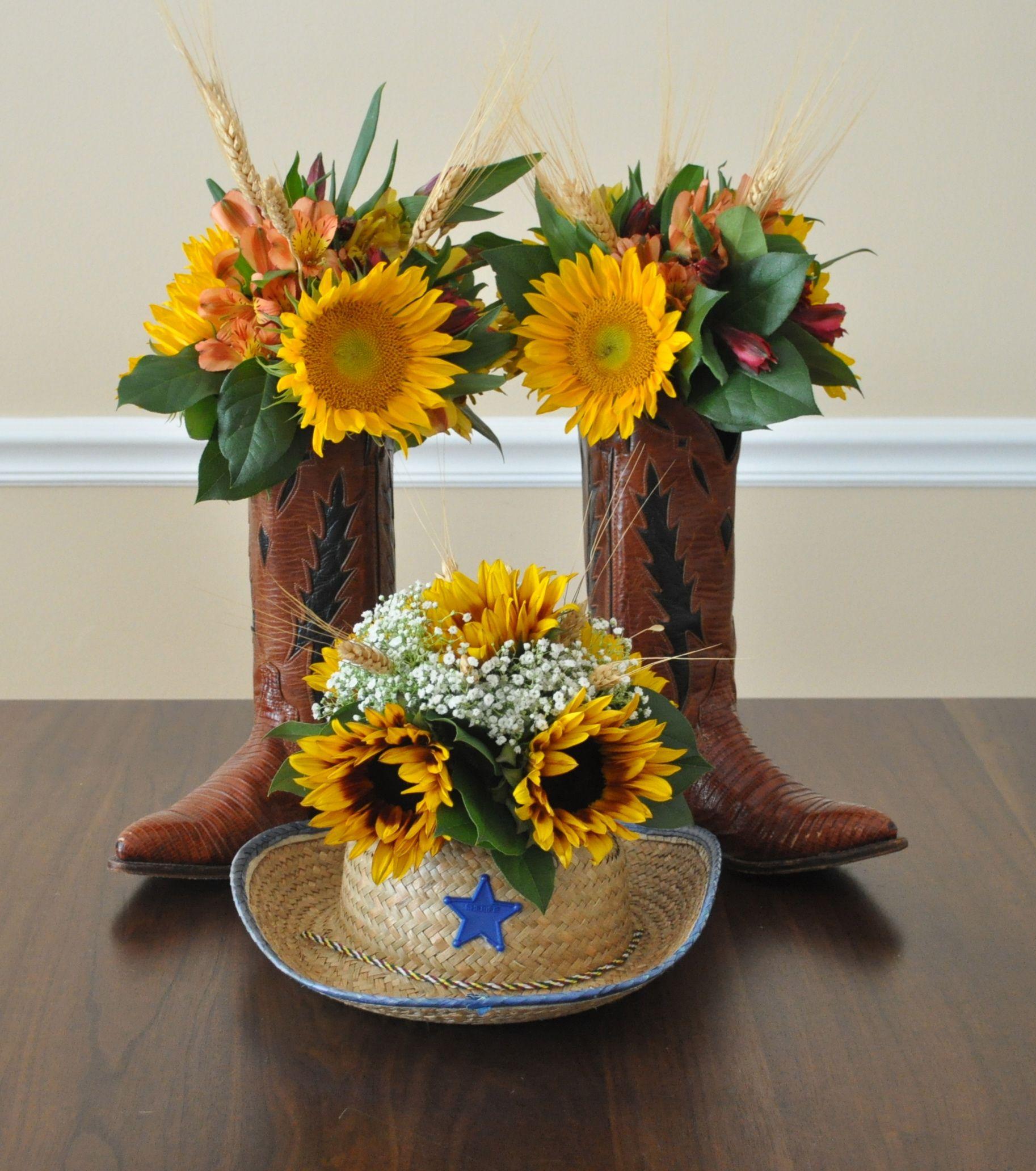 Floral design flower arrangements for wild west party for Flower arrangements for parties