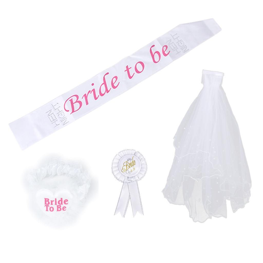 1 Set Bride To Be Sash Badge Rosette Garter 2T Veil Hen Night ...