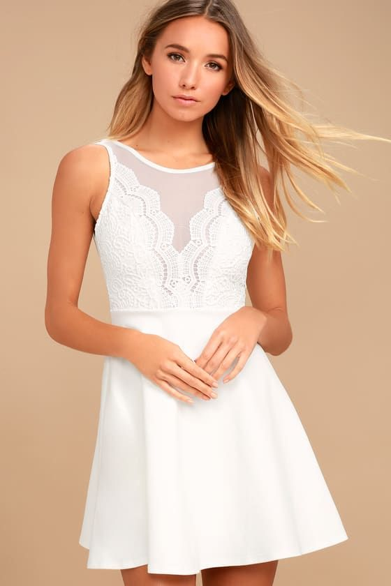 a1640de27b The I Promise White Lace Skater Dress will never let you down! Sheer mesh  accents the decolletage of a scalloped lace bodice with plunging neckline.  Deep V ...