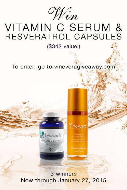 Win 2 Prizes From Vine Vera Click Here To Enter Http Bit Ly Resveratrolgiveaway Resveratrol Vitamin C Serum Vitamins