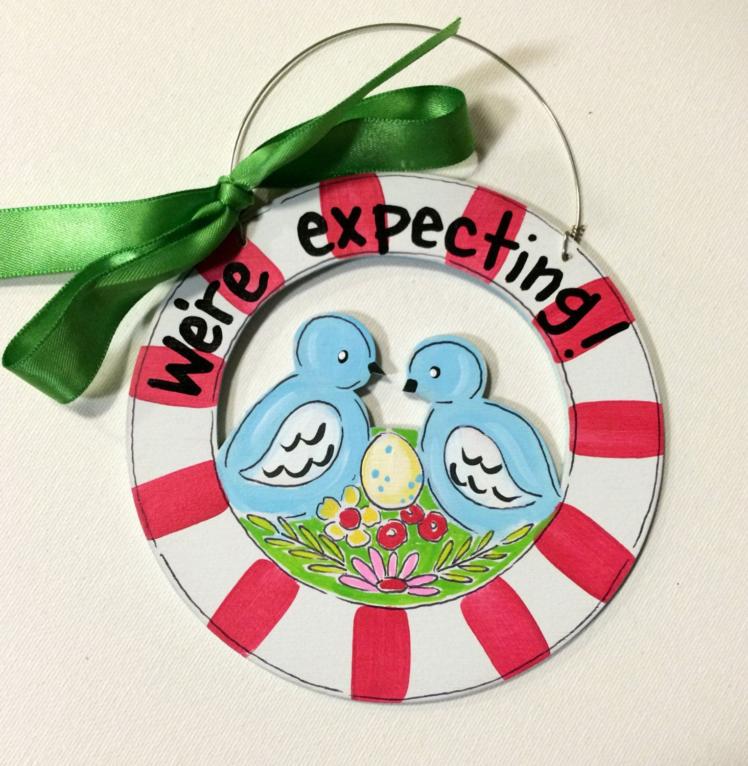 Birdnest Expecting Ornament - pregnancy ornament- bird ornament - expecting Christmas ornament- personalized- painted wood - red stripes by HazelMartinDesigns on Etsy
