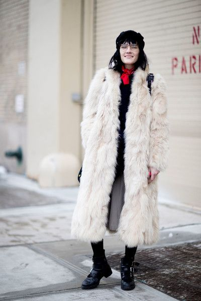 Dramatic Lengths - These Street Style Stars Wore the BEST Faux Fur Coats at NYFW - Photos