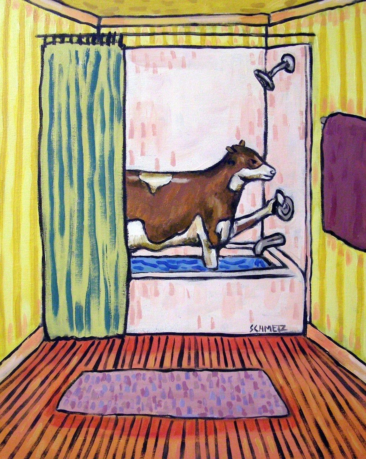 Cow taking a bath bathroom  art print 4x6 small prints