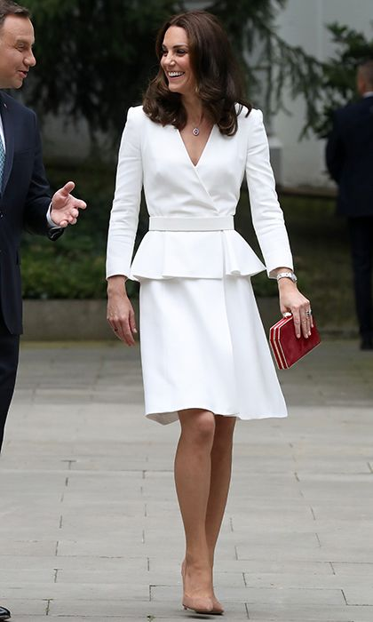 137a238c9477c The Duchess of Cambridge opted for Alexander McQueen in one of her favorite  wardrobe hues, white, to kick off the royal tour of Poland and Germany on  July ...