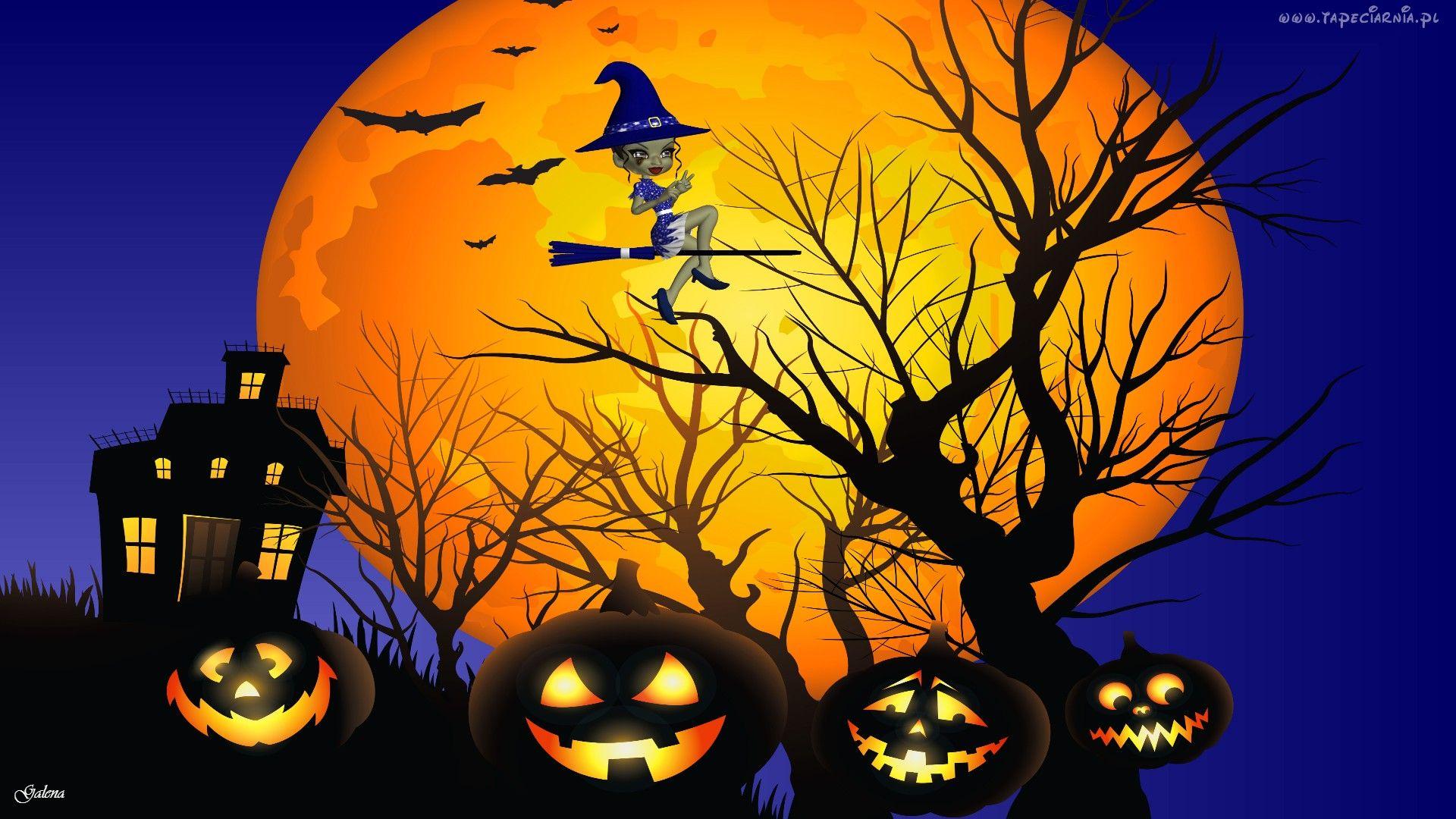 Halloween, Wiedźma, Księżyc, Dynie, Grafika Halloween, Fotos