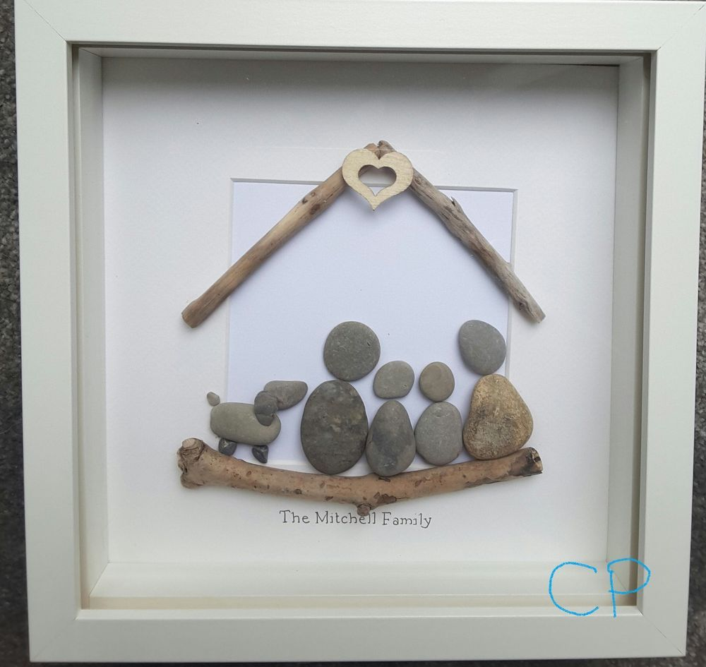 Handmade pebble picture family wall art birthday