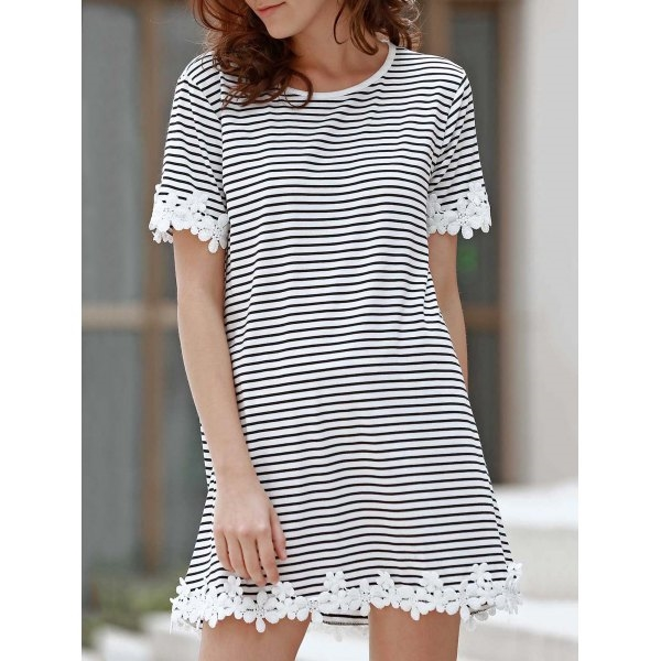 16.67$  Buy here - http://di3ny.justgood.pw/go.php?t=171882604 - Sweet Style Round Neck Short Sleeve Striped Laciness A-Line Women's T-Shirt