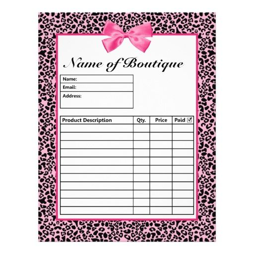 Trendy Pink And Black Leopard Hot Pink Order Forms Zazzle Com