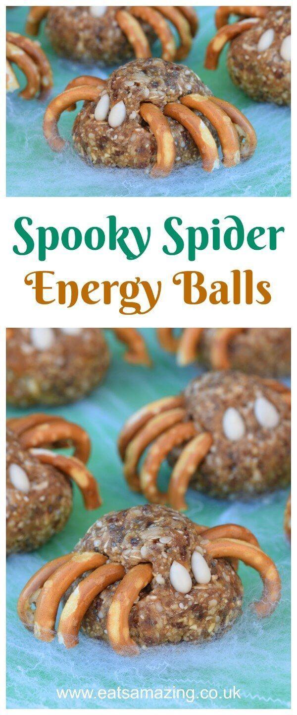 halloween spider energy balls recipe - fun healthy snack for