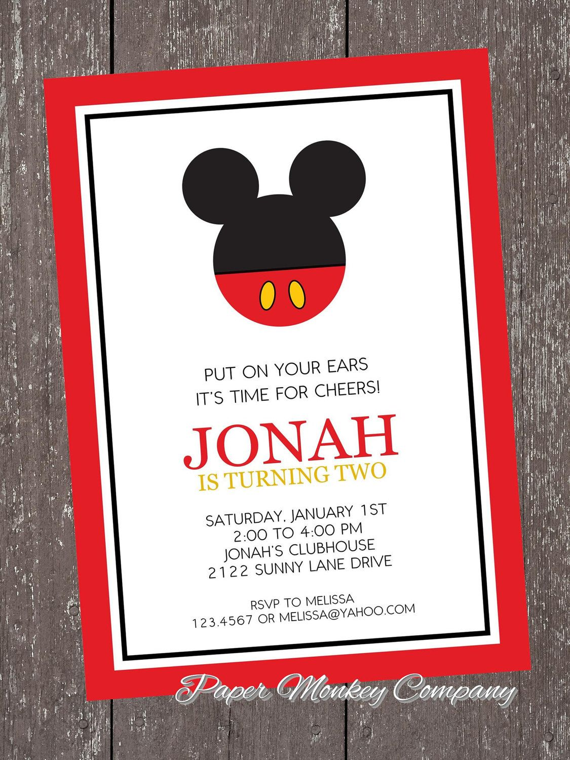 Mickey Mouse Birthday Invitation with FREE by PaperMonkeyCompany ...