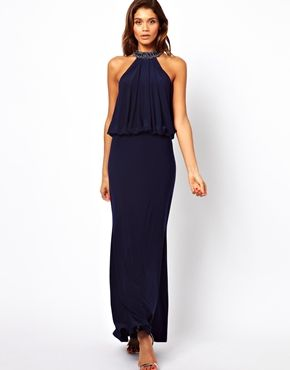 diversified in packaging special discount novel style ASOS | Forever Unique Halter Maxi Dress with Embellished ...