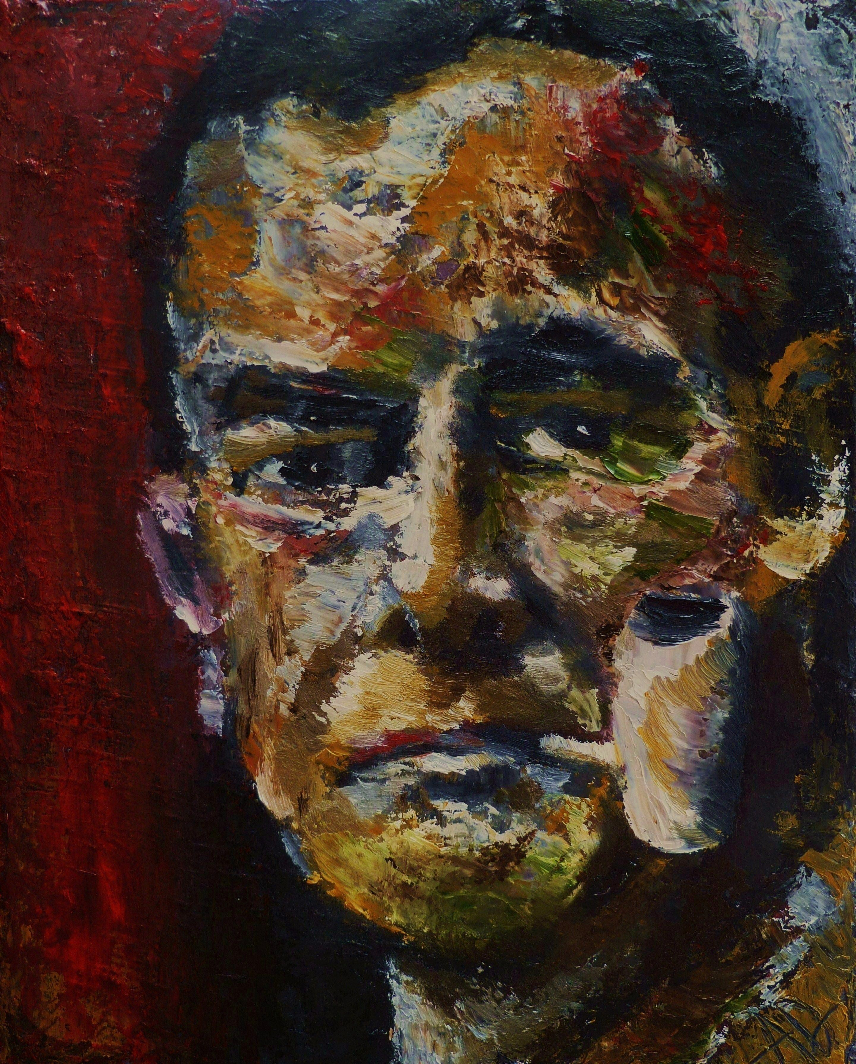 Portrait of George Grosz with Pipe, Oil on Canvas 10x8