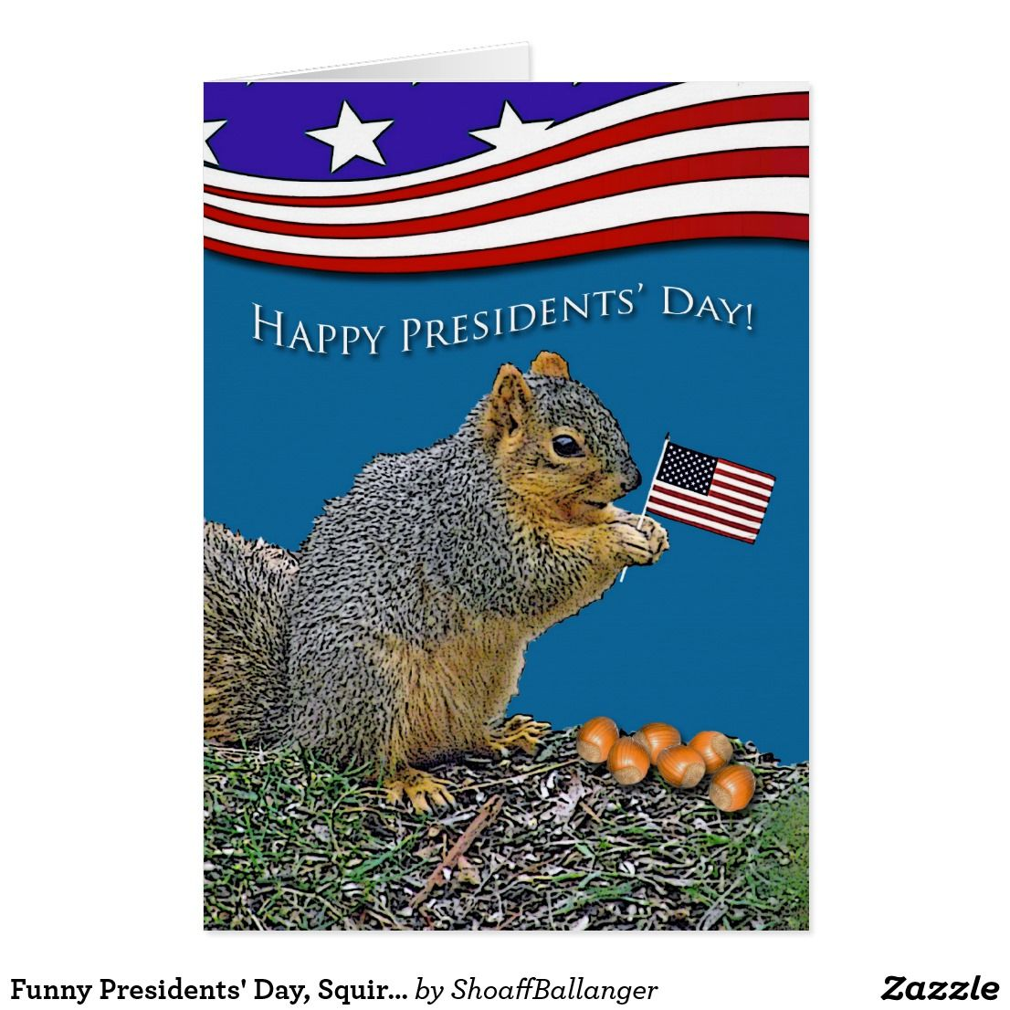 Funny Presidents Day Squirrel With Flag And Nuts