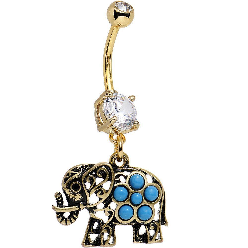 Belly Bar Turquoise Elephant Navel 10mm  Body Jewellery