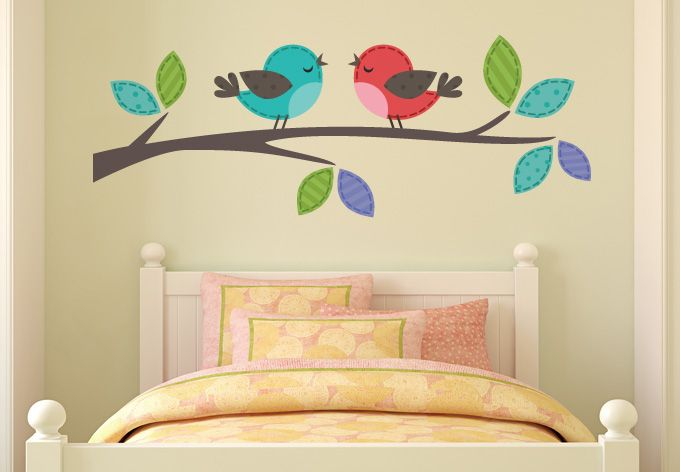 wall decals - birds couple on branch wall decal- beautiful bird