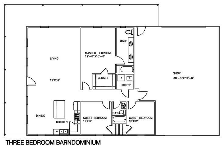 Metal Building Floor Plans With Shops Barndominium Floor Plans Shop With Living Quarters Barn House Plans