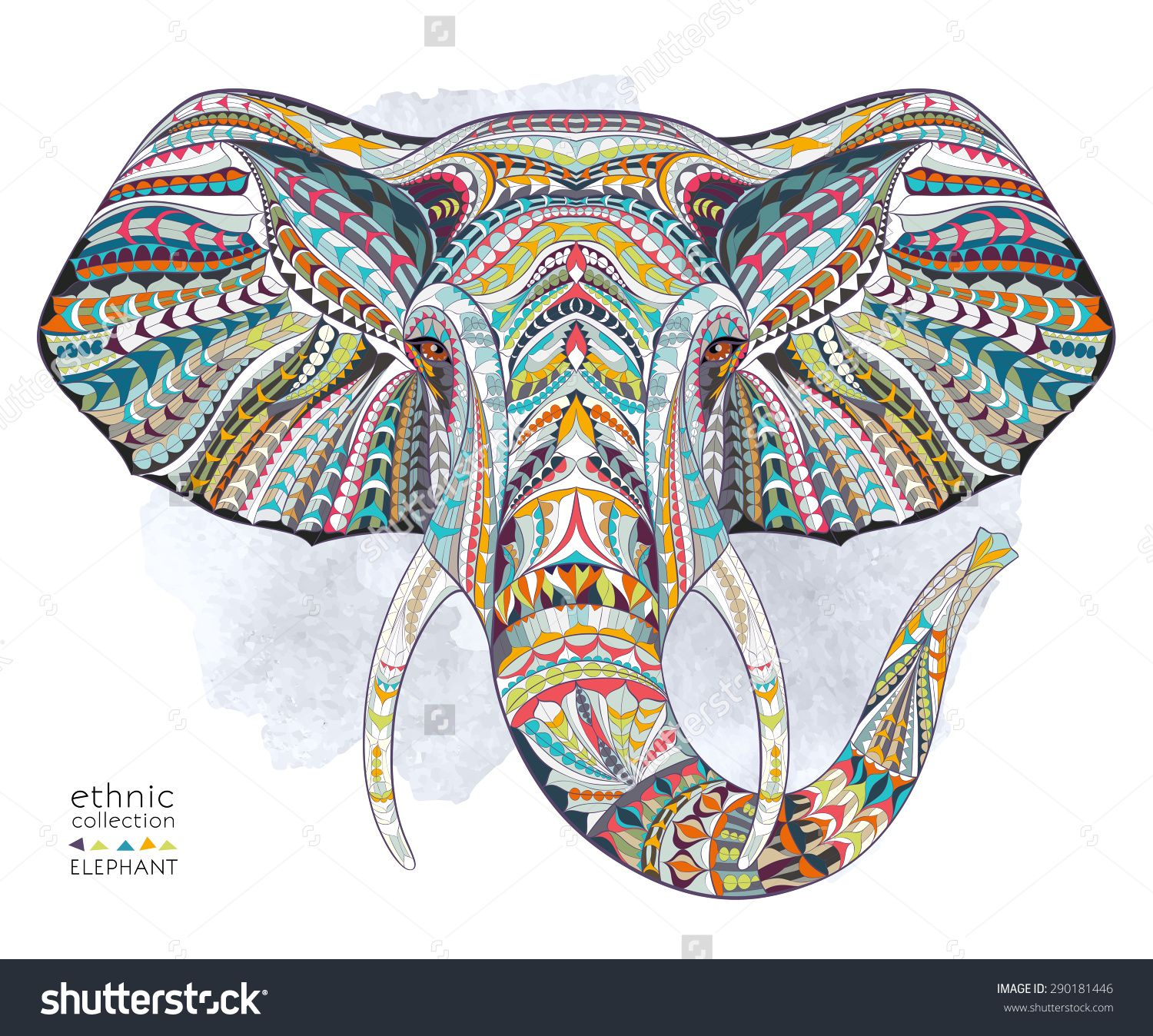 Ethnic Patterned Head Of Elephant On The Grange Background African Indian Totem