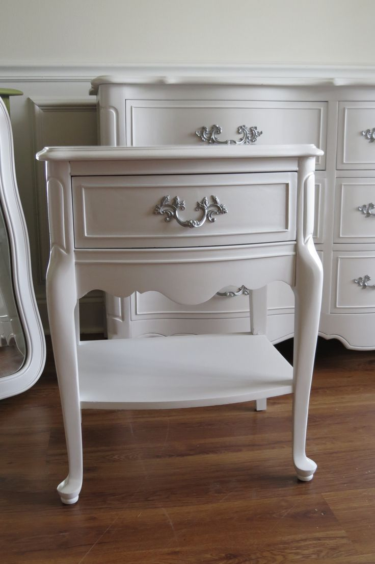 White French Provincial Nightstand Bedroom Furniture