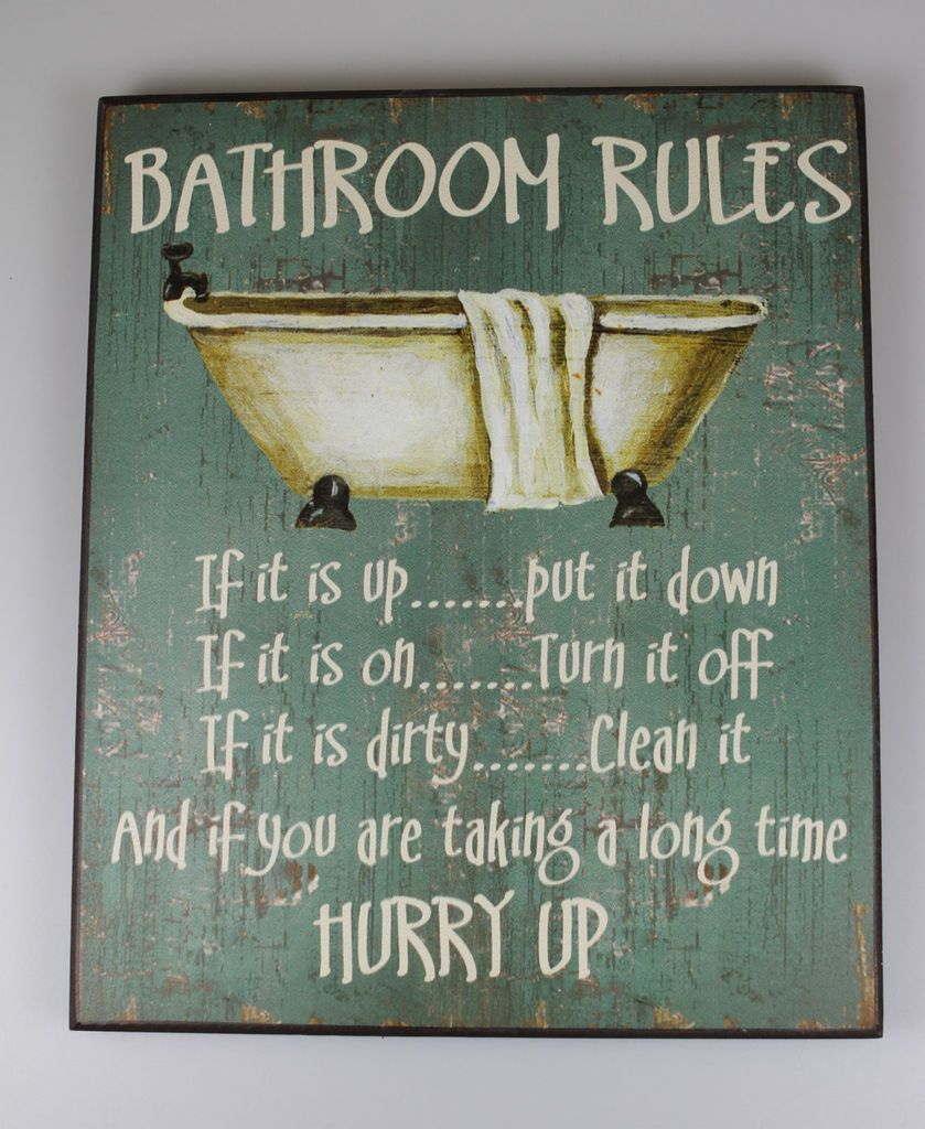 Large shabby wooden chic sign bathroom rules vintage plaque