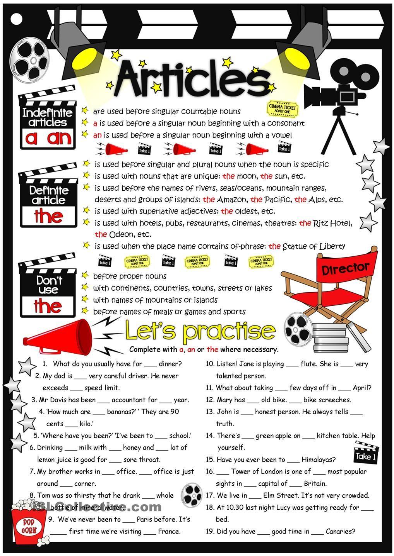Articles - guide & practice | Grammar | Pinterest | englische ...