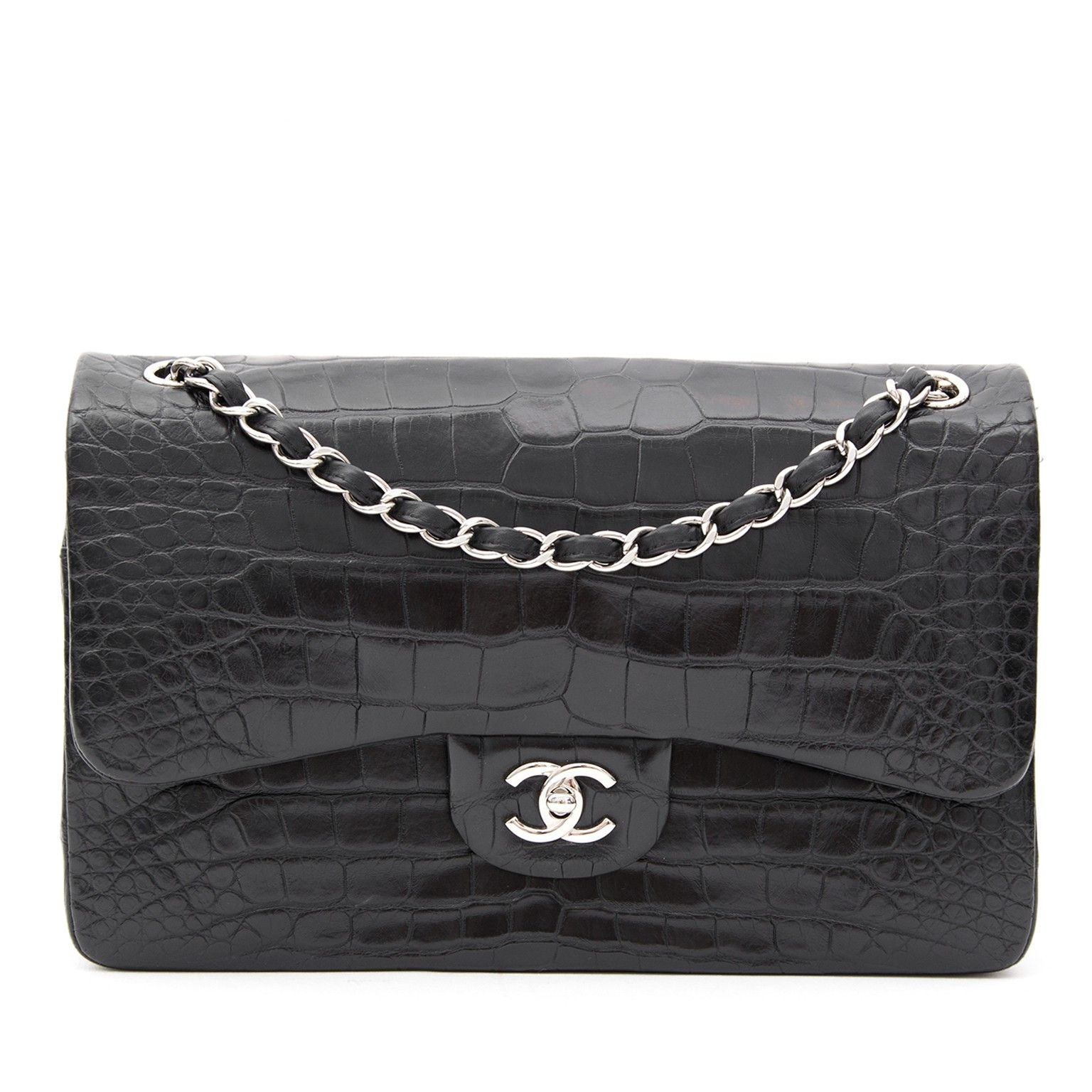be99a9a816f3 Chanel Alligator Jumbo Double Flap Black | We LOV Chanel