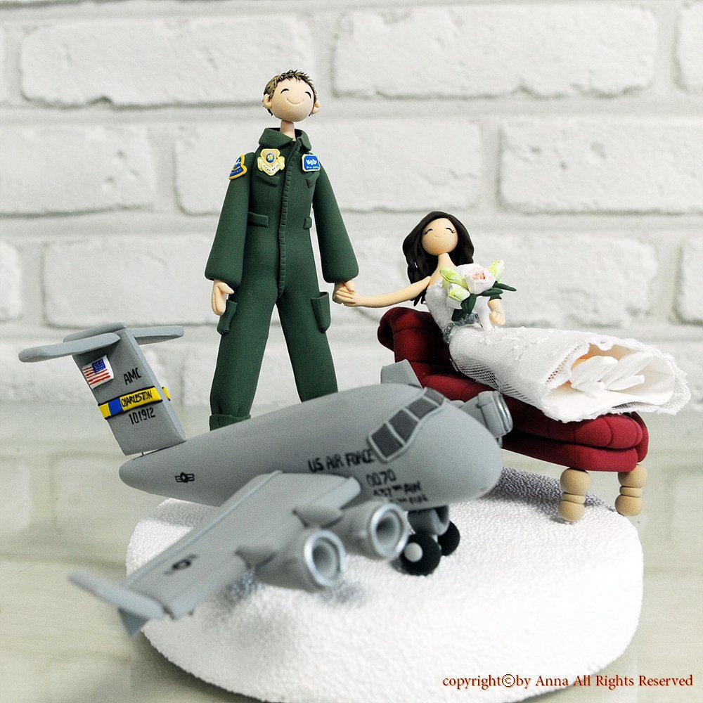 An Air Force Pilot Wedding Cake Topper Decoration By Annacrafts