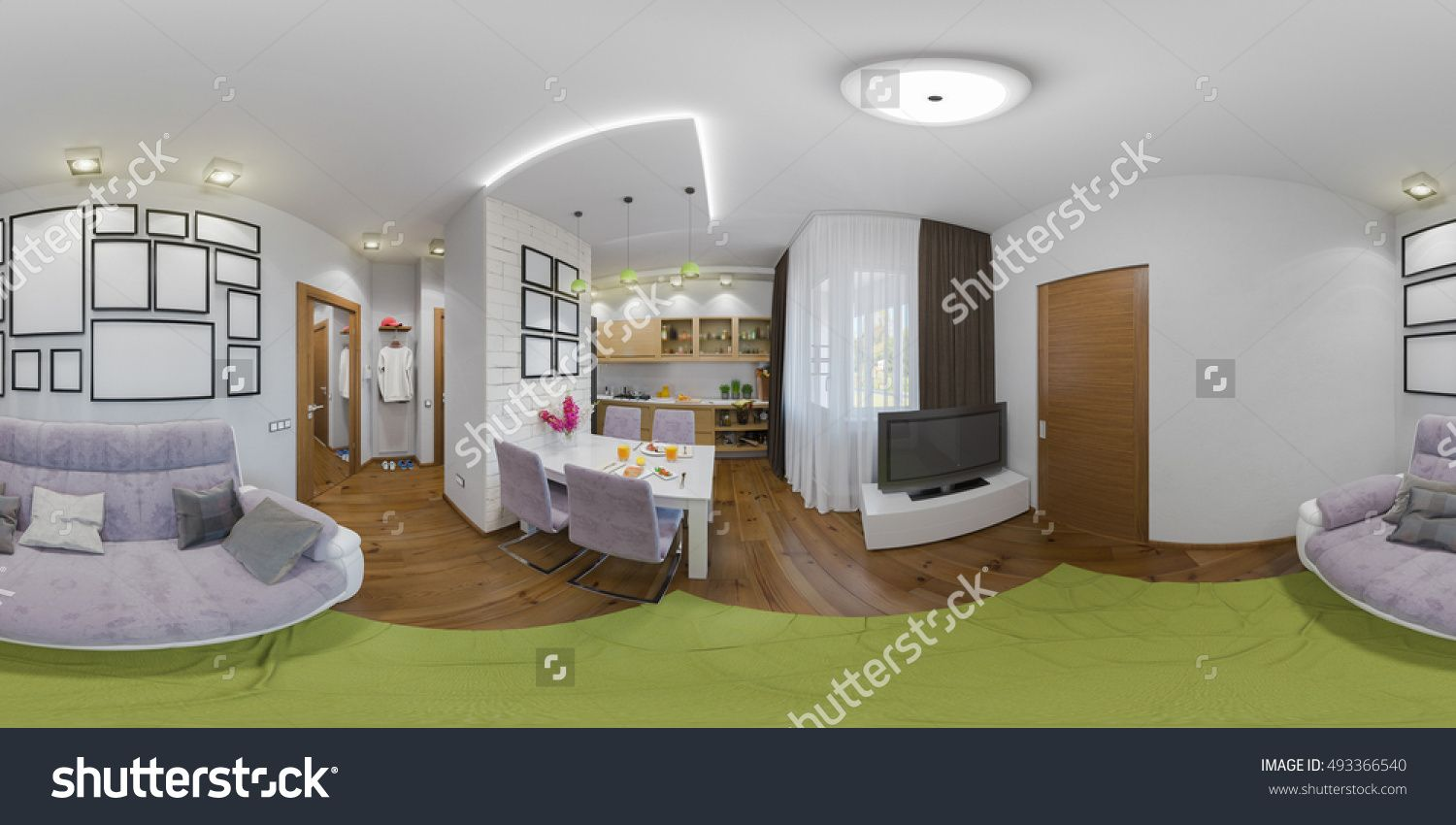 3d illustration spherical 360 degrees, seamless panorama of living ...