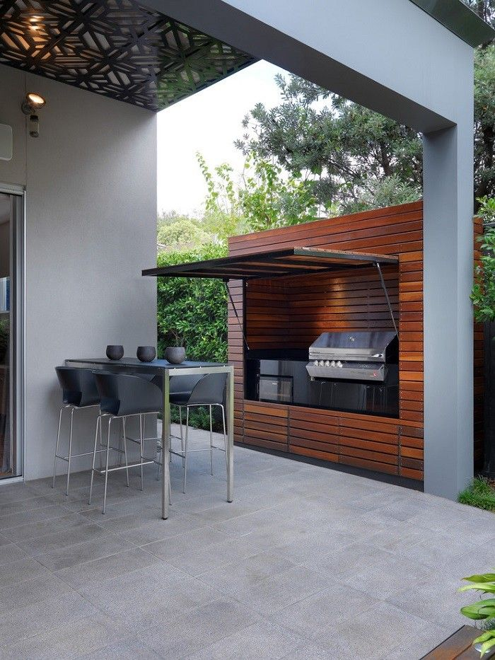 Barbacoas de obra y cocinas exteriores moderno madera y - Barbacoas para terrazas ...