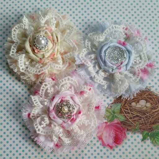 Fabric and lace flowers