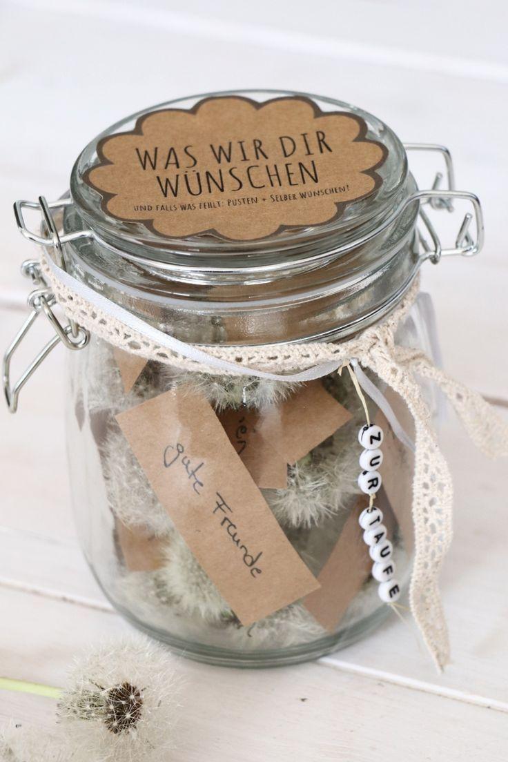Persönliches Geschenk zur Taufe: Pusteblumen im Glas #persönlichegeschenke