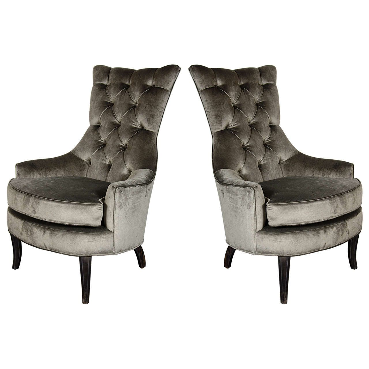 Pair Of Mid Century Modern Tufted High Back Chairs In Smoked Platinum Velvet