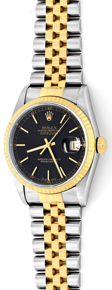 ungetragene rolex datejust herren uhr stahl gold topuhr. Black Bedroom Furniture Sets. Home Design Ideas