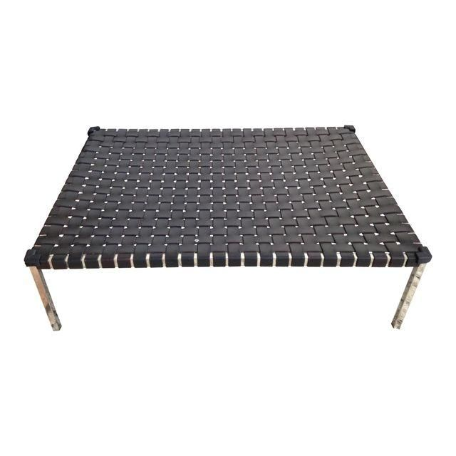 Ralph Lauren Woven Black Leather Coffee Table Leather Coffee Table Coffee Table Black Leather