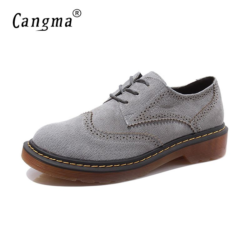 CANGMA Luxury Leisure Shoes Women Designers Genuine Leather Woman British Style Brogue Carved Casual Vintage Shoes Scarpe Donna