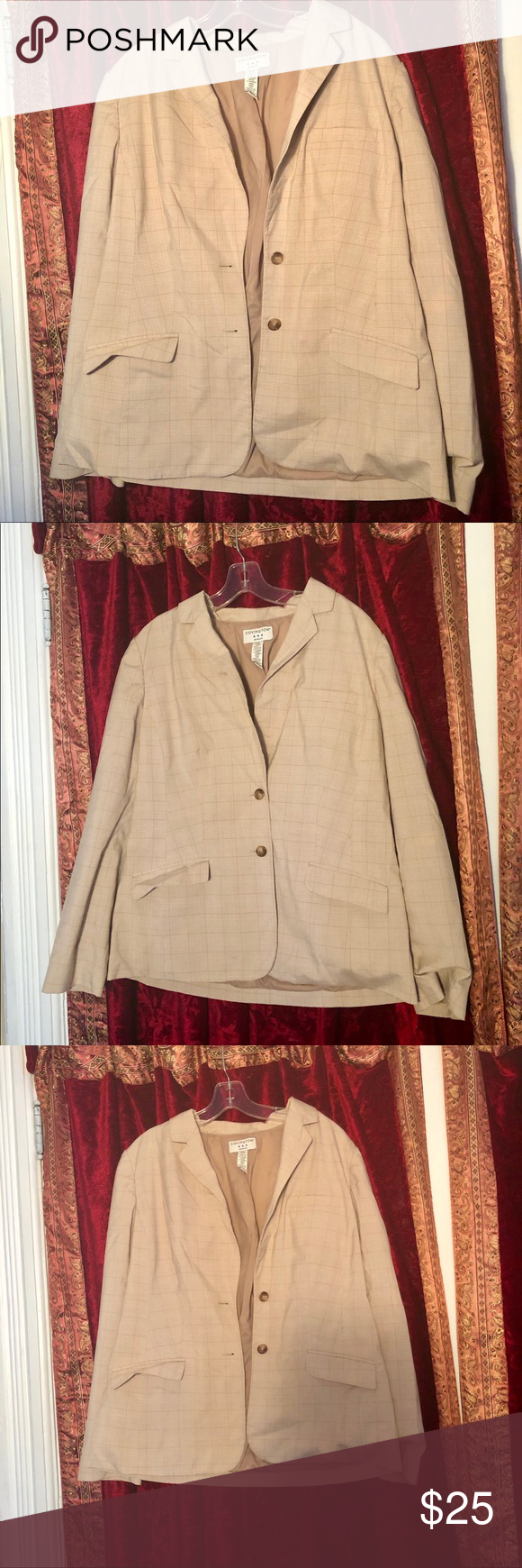 Covington Dressy Work Jacket Only Worn Once Like New Beige With Subtle Stripes Detail Double Button Up 4 Buttons On Eac Work Jackets Clothes Design Dressy [ 1740 x 580 Pixel ]