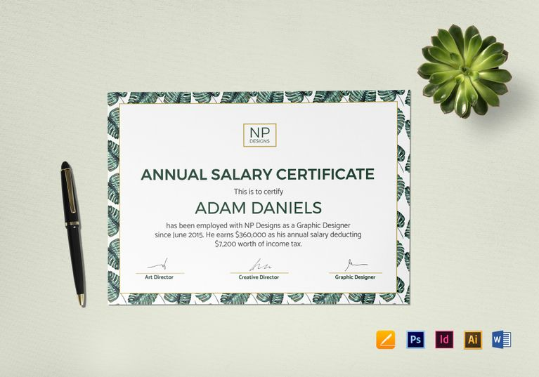 Annual salary certificate template 12 formats included annual salary certificate design template in psd word illustrator indesign apple pages yelopaper Choice Image
