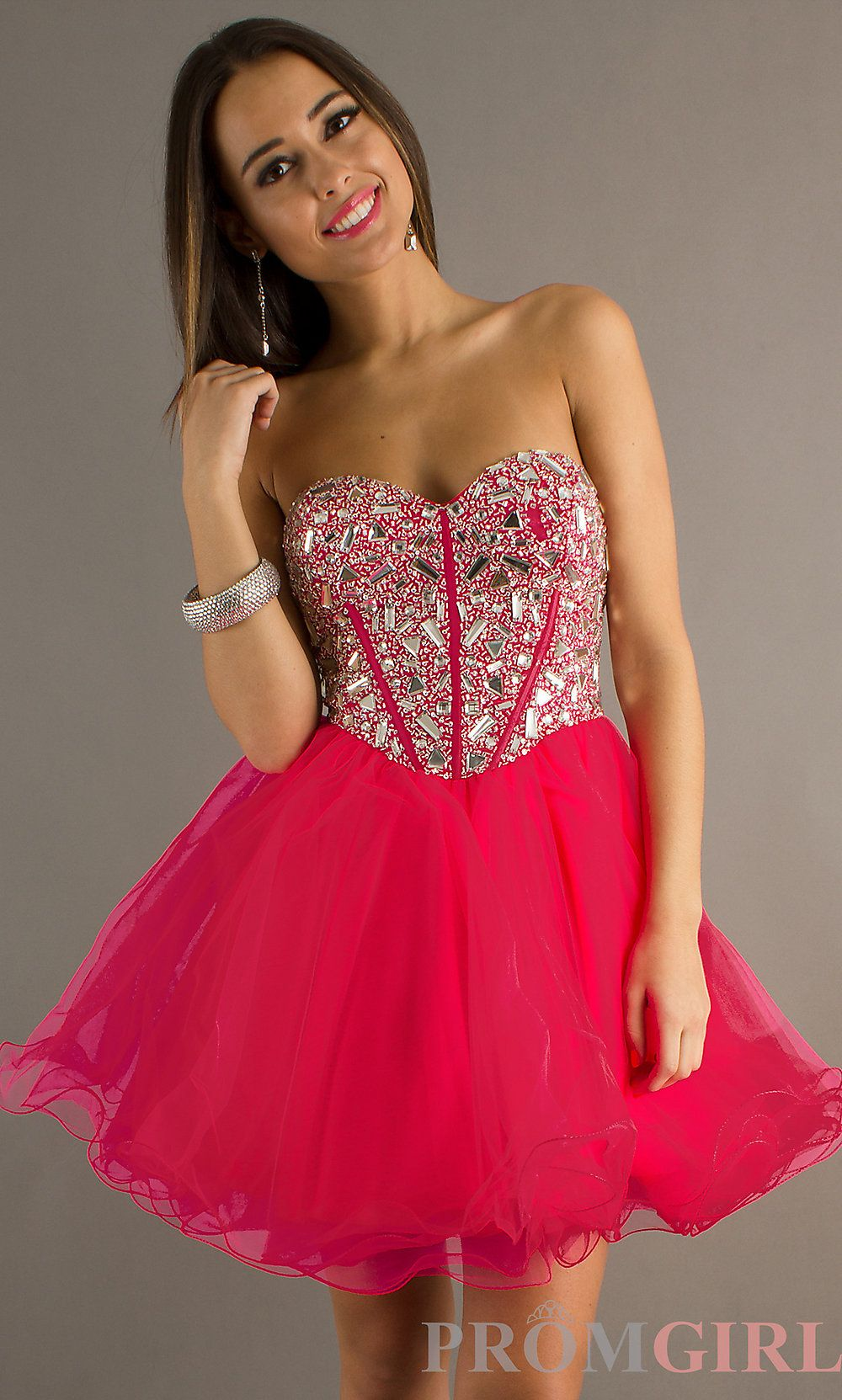 Strapless short prom dress fushia neon | Outfits & dresses- my style ...