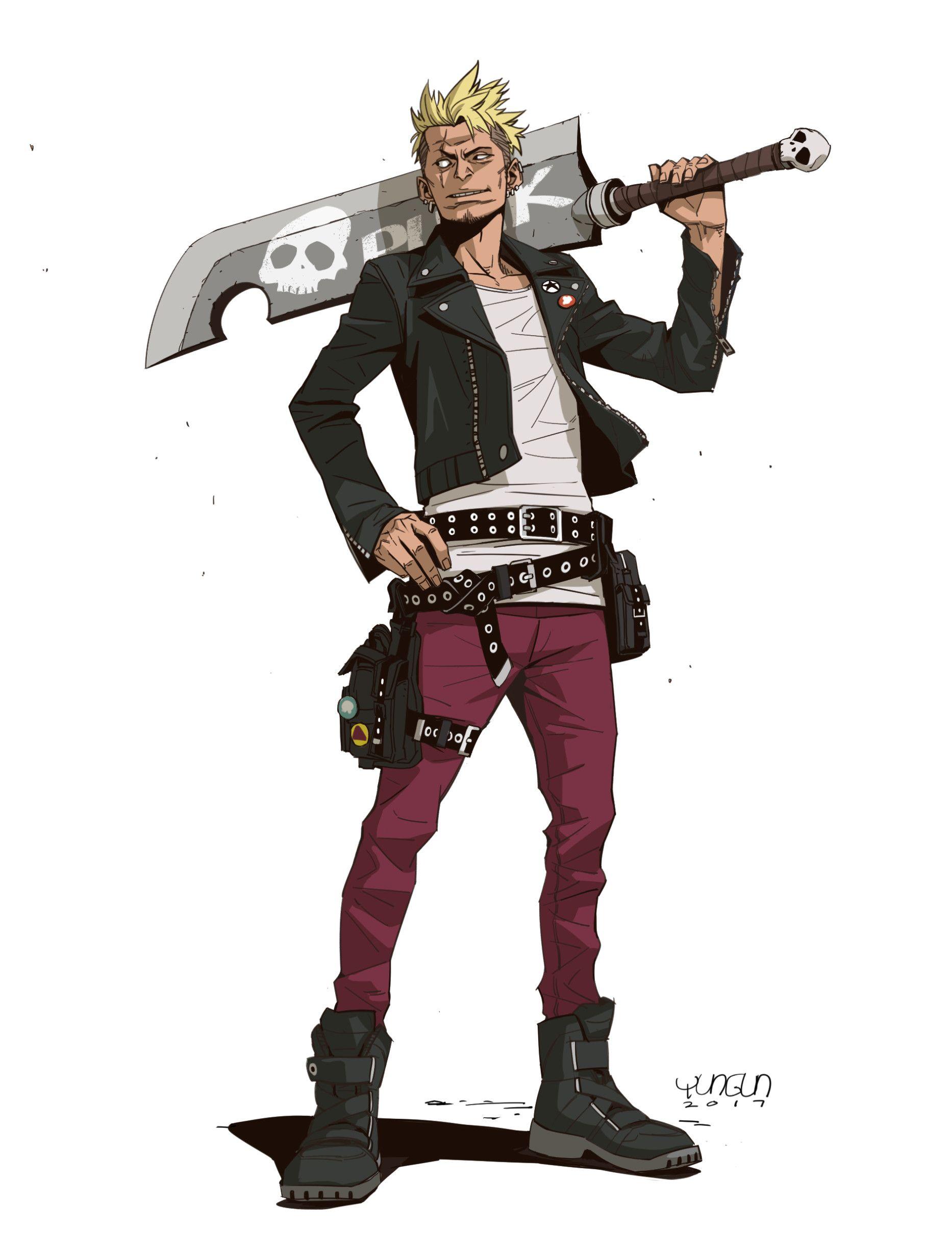 ArtStation swordsman , YUNGUN Y Anime character design
