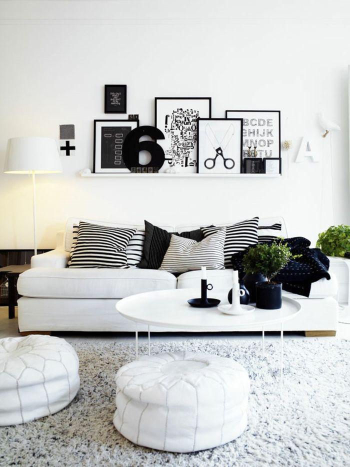 einrichtungsbeispiele schwarz weiß wohnzimmer einrichten weiss