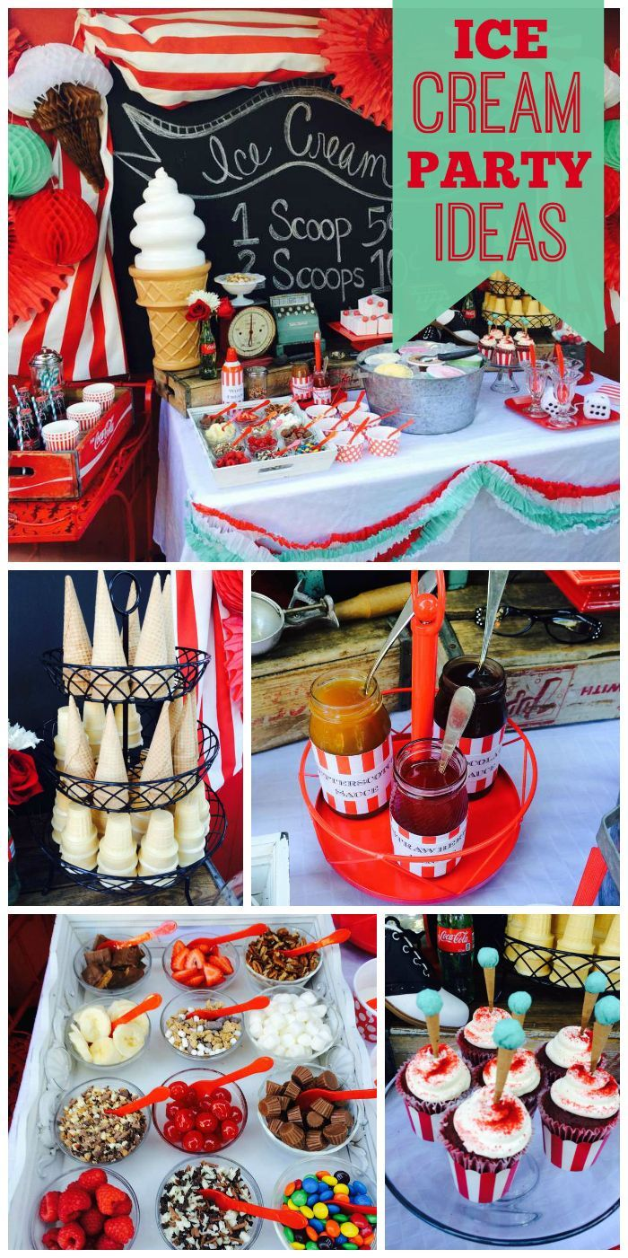 A 50u0027s Inspired Ice Cream Shoppe Birthday Party With Toppings, Cones,  Cupcakes And Treats