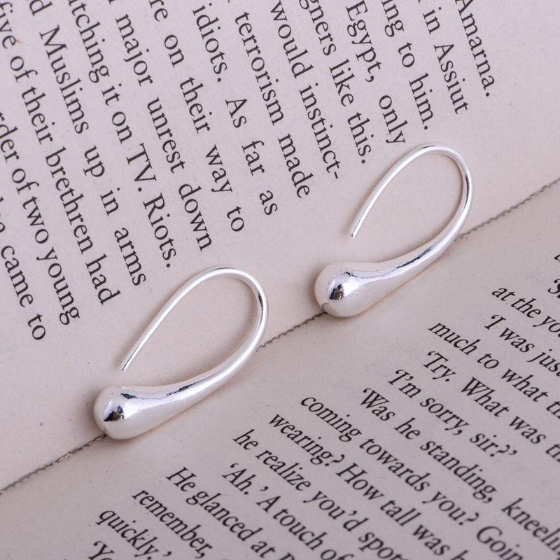 Verzilverd oorbellen, zilveren sieraden, shiny skinny eivormig/cdnakuua duvammca LQ-E004
