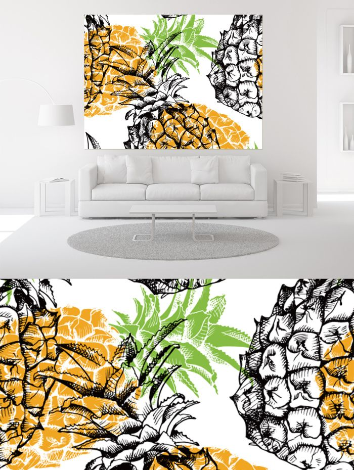 Room Design Layout Templates: Pineapple Decorative Painting Living Room Design Template