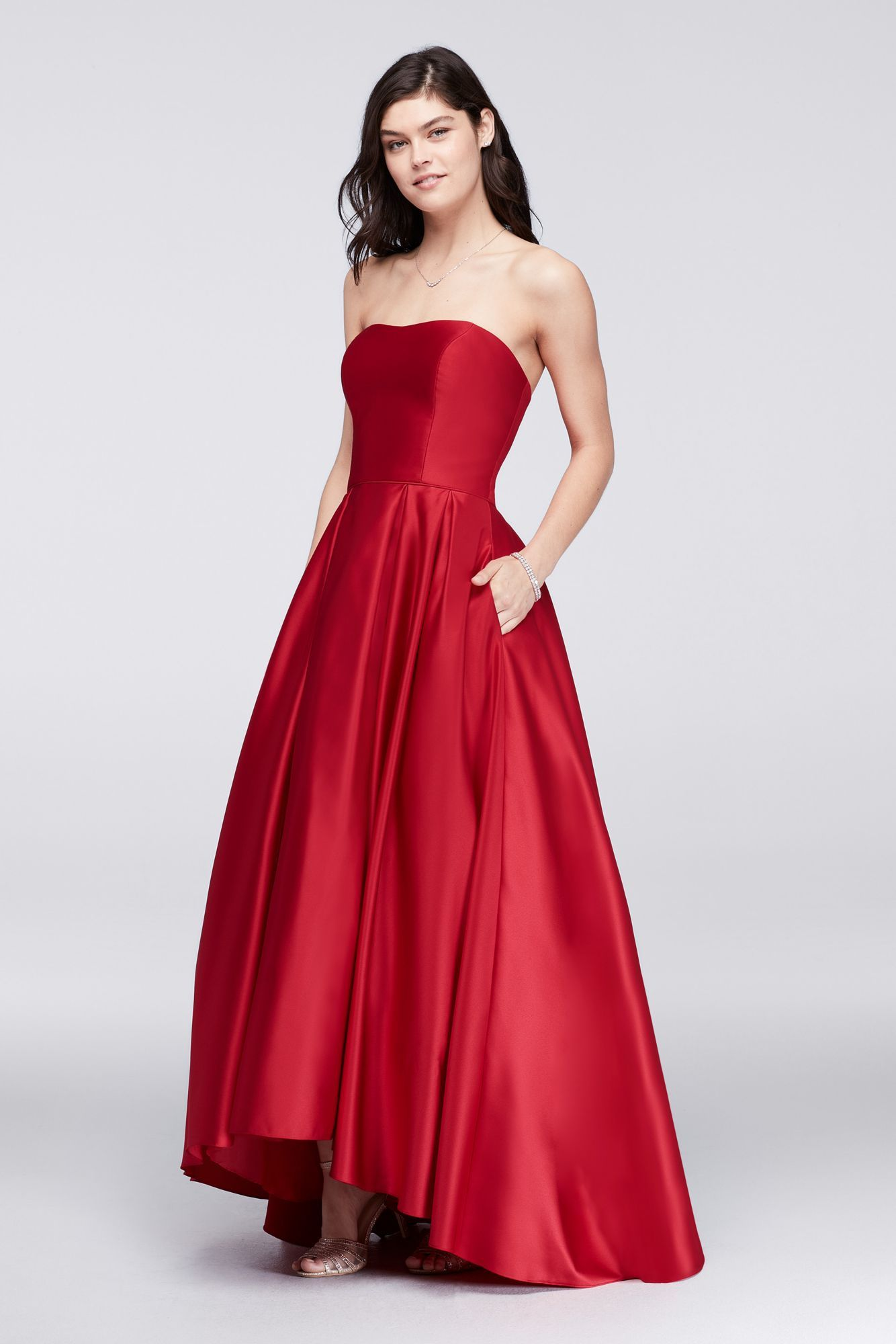 A18224 Style Betsy & Adam Fashion High-Low A-line Satin Ball Gown ...