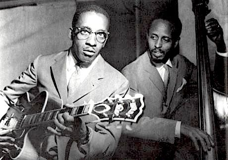 """Milt Jackson on guitar (yes, he played- check out """"Soul Brothers"""" with Ray Charles on Atlantic) Probably a photo from that session, here with Percy Heath"""