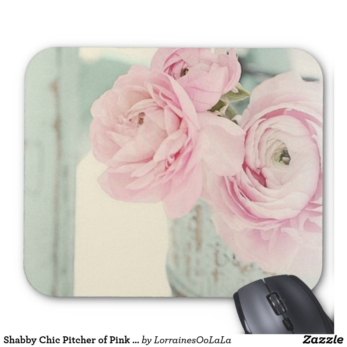 Shabby Chic Pitcher Of Pink Flowers Mouse Pad Flowers And Flower