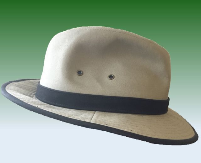 Woolrich Cotton Twill Fedora Outback Outdoors Hat Faux Suede Band Large  7-1 2  433599c9587