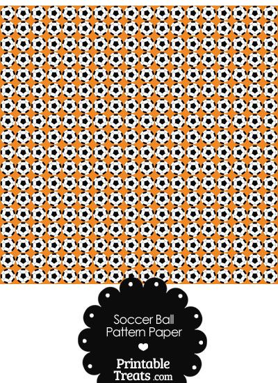 Orange Soccer Ball Pattern Digital Scrapbook Paper From PrintableTreats