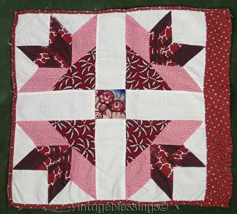 c1860 ANTIQUE Civil War Era Turkey Tracks Quilt Block EARLY Fabric ... : turkey quilt block - Adamdwight.com